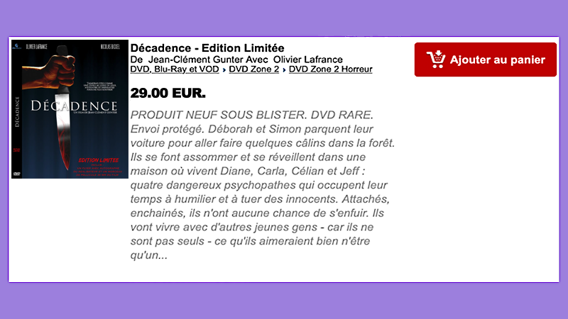 DVD DÉCADENCE ÉDITION LIMITÉE